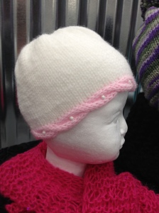 Knitted Baby Beanie with Cable Band