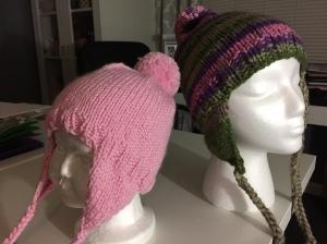 hand knitted ear flap beanies